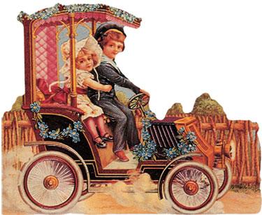 boy girl vintage motor car
